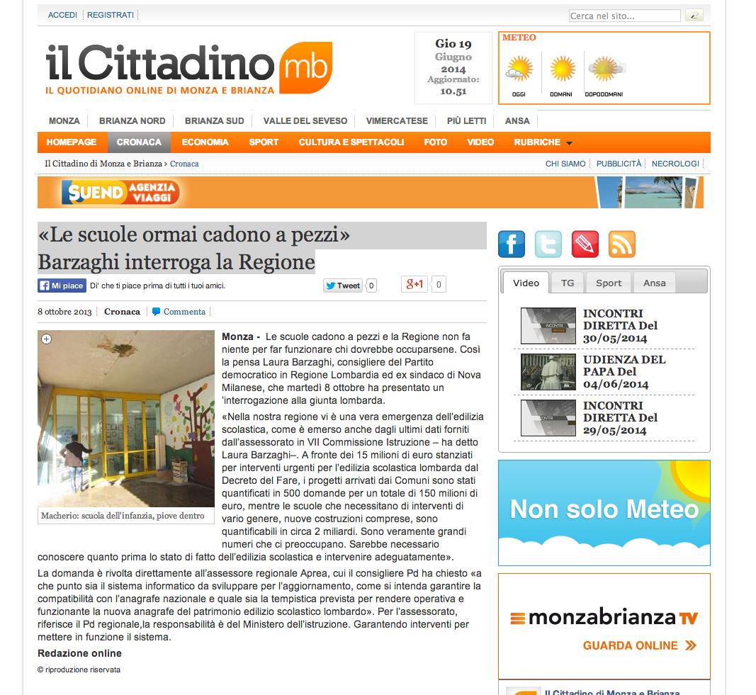 Le scuole ormai cadono a pezzi Barzaghi interroga la Regione  Cronaca Monza Il Cittadino Di Monza e Brianza  Notizie di Monza Brianza e provincia