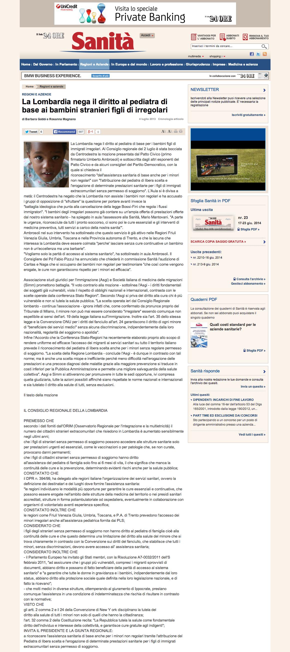 La Lombardia nega il diritto al pediatra di base ai bambini stranieri figli di irregolari Sanita Il Sole 24 ORE