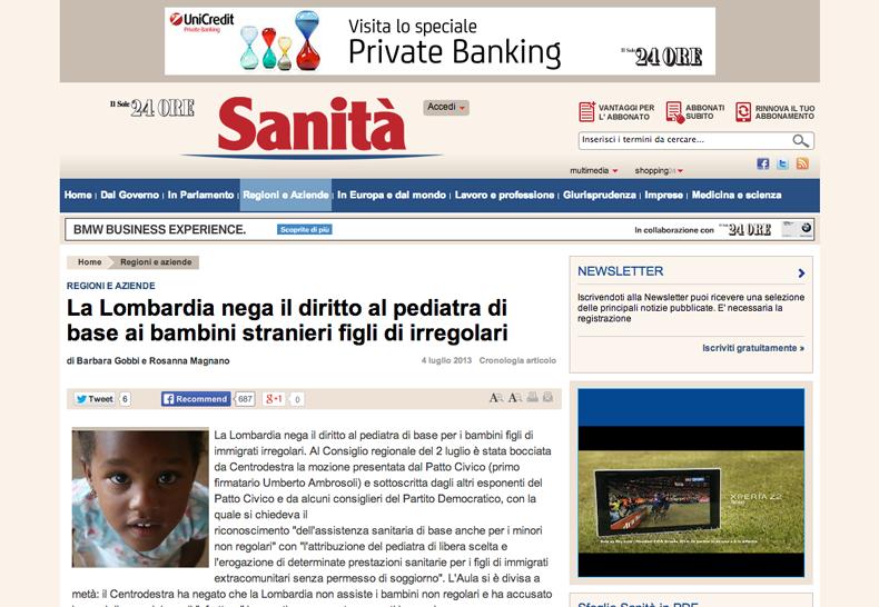 La Lombardia nega il diritto al pediatra di base ai bambini stranieri figli di irregolari Sanita Il Sole 24 ORE_thumb