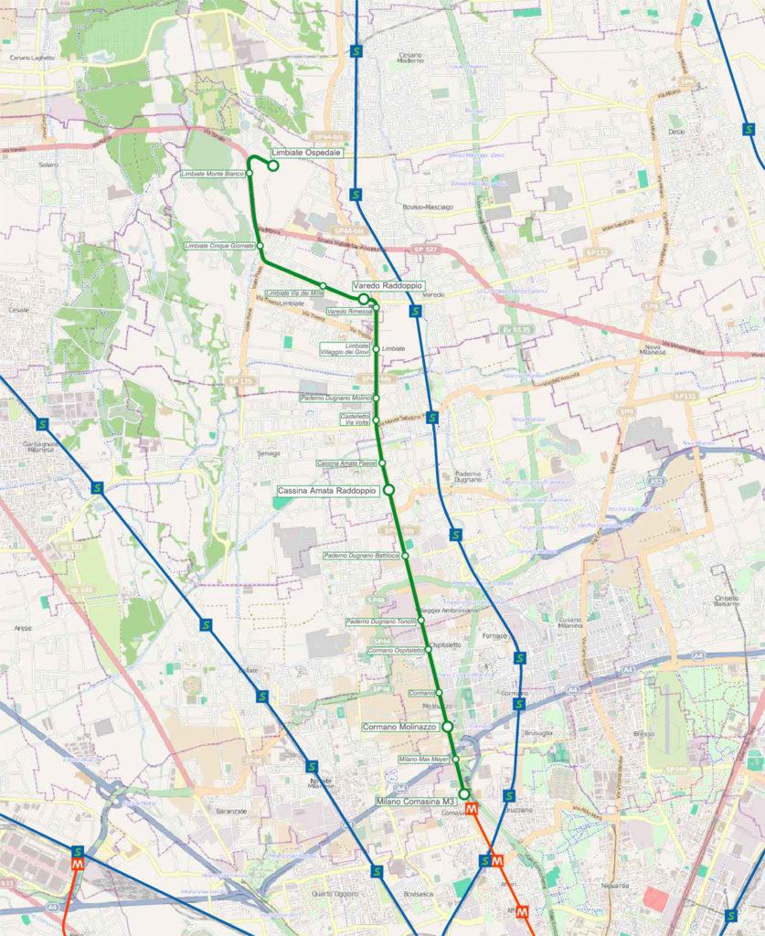 Mappa_tranvia_Milano-Limbiate_2011